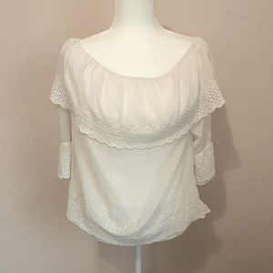 Maurices Cold Shoulder Lace Ruffled White Blouse